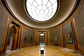 photo of Oval Room gallery in Frick collection, with skylight