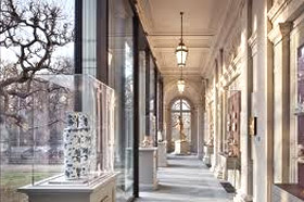 photo of Portico gallery in Frick Collection, with tree seen through glass