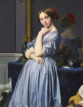 painting of young woman in blue dress with arms crossed, with her back reflected in mirror