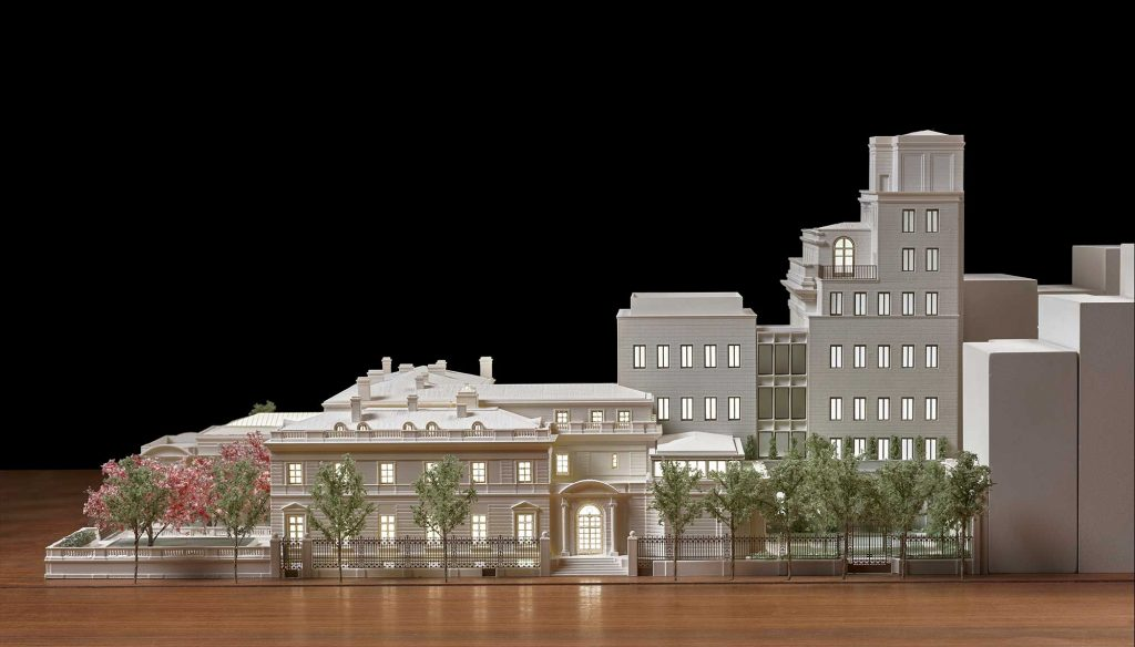 architectural model of the proposed Frick Collection building